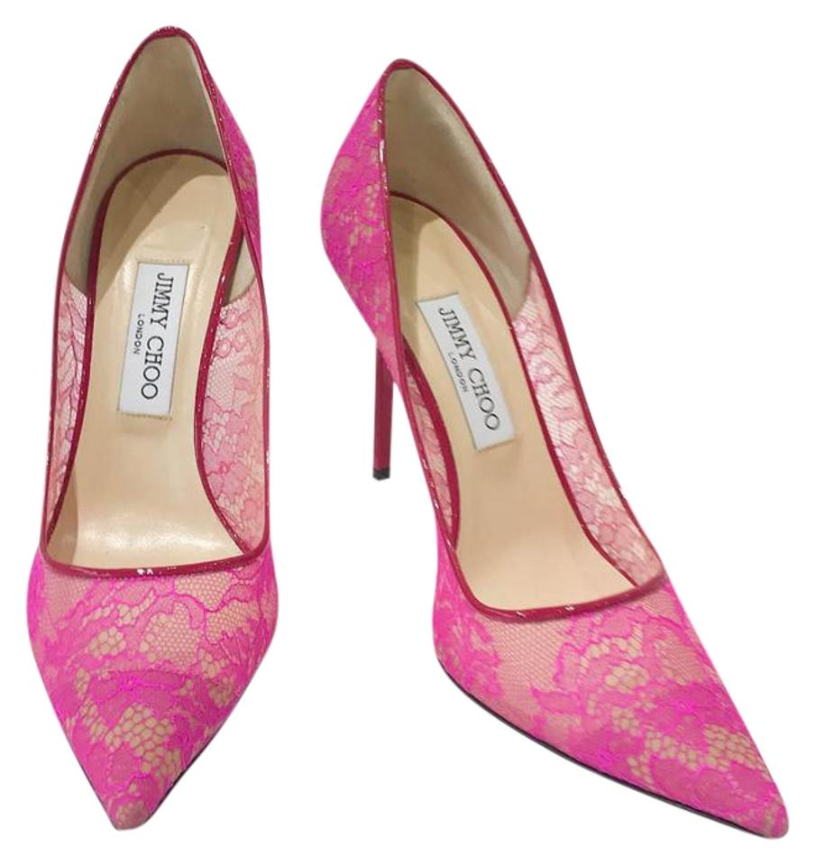 5130d82374f Jimmy Choo Pink Mesh Lace Classic Pointed Toe Stiletto .