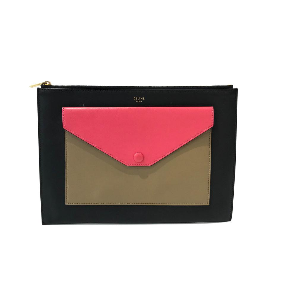 2625d0186b73 Céline Envelope Black   Rose Dust   Brown Leather Clutch - Tradesy