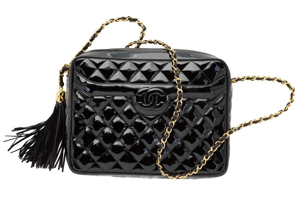 69e876566342 Chanel Camera Quilted Black Patent Leather Shoulder Bag - Tradesy