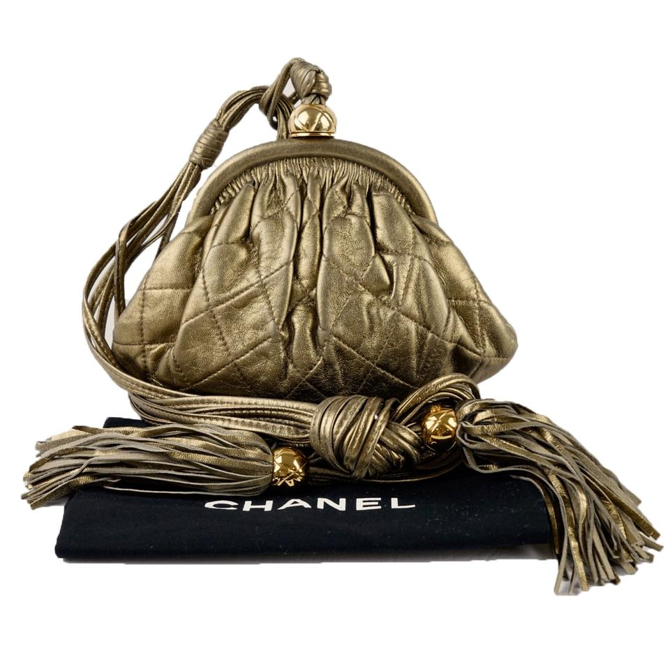 82cf3b5a68b90a Chanel Clutch Evening Metallic Quilted Gold Lambskin Leather Shoulder Bag