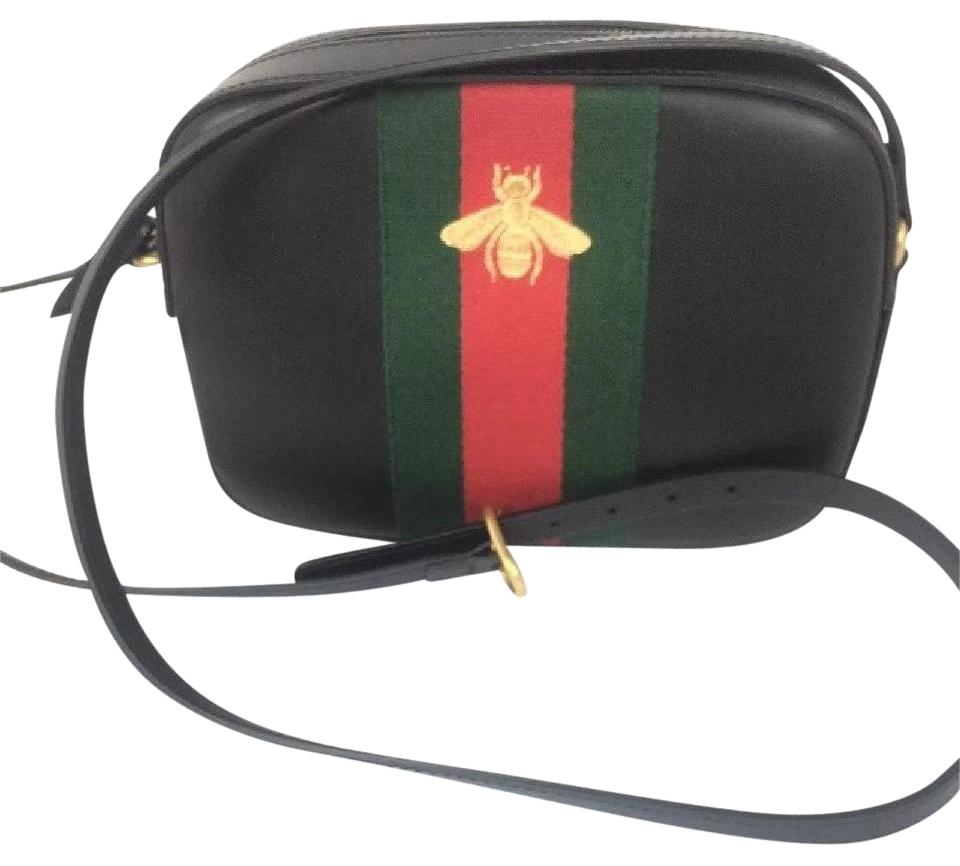 Gucci Bee 412008 Red/Green Web Stripe Black Leather Cross Body Bag 4% off  retail
