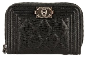 Chanel NEW Chanel Caviar Quilted Boy Zip Around Coin Purse Mini Wallet