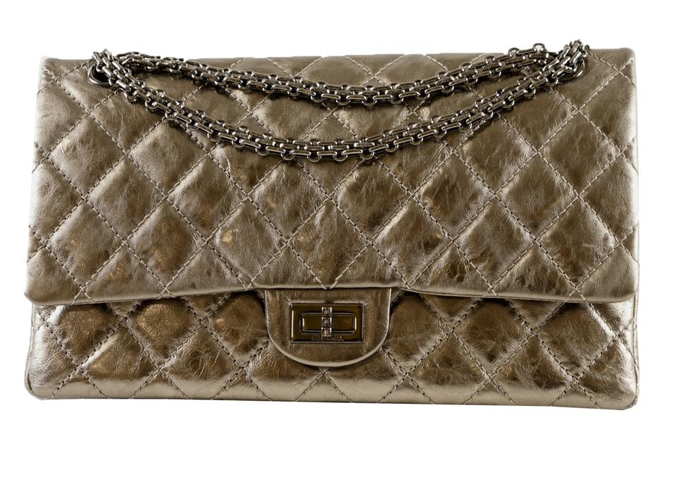db7e7901cc0312 Chanel 2.55 Reissue Pewter Distressed Metallic/Gold Lambskin Leather  Shoulder Bag