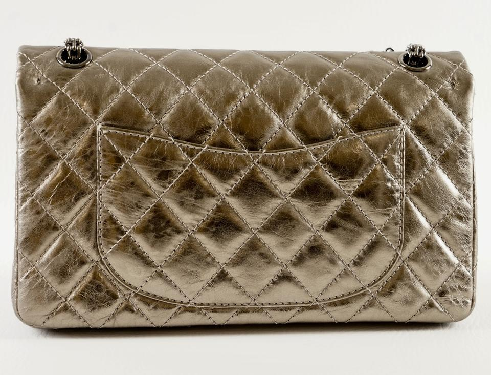 cf235d7c5a7eca Chanel 2.55 Reissue Pewter Distressed Metallic/Gold Lambskin Leather  Shoulder Bag - Tradesy