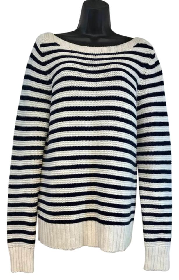 4aa40c1501c50 Talbots Navy Creme Stripes Cotton Knit Navy Creme Sweater - Tradesy
