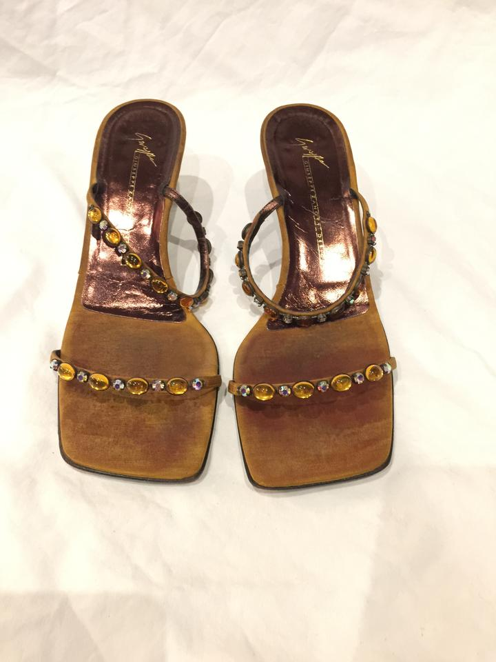 Giuseppe Zanotti Gold Bronze Suede And Leather Sandals