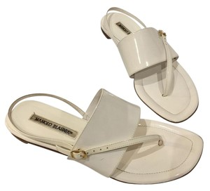 Manolo Blahnik Sandal Patent Leather White Flats