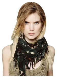Free People Bleach Washed Plaid Scarf Green One Size