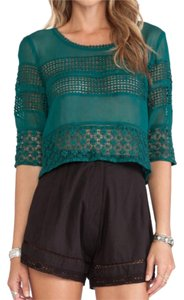 Tularosa Bachelorette Embroidered Crop Top Storm Green