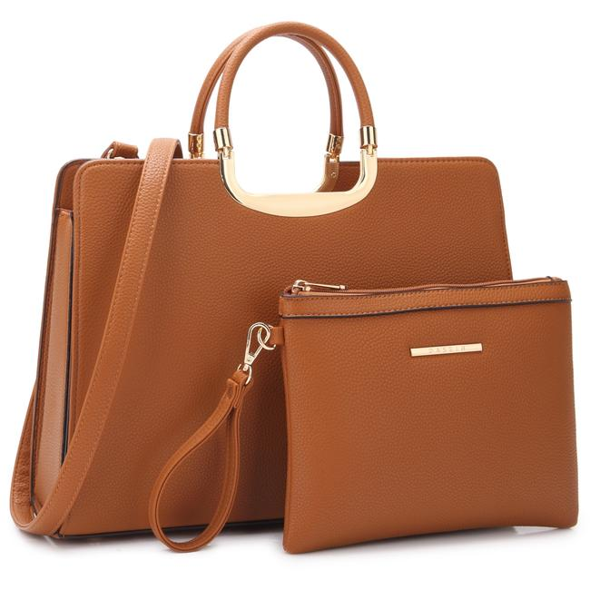 Item - With Matching Accessory Pouch Brown Faux Leather Satchel