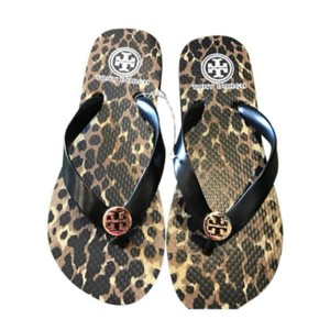 Tory Burch Black and Leopard Sandals