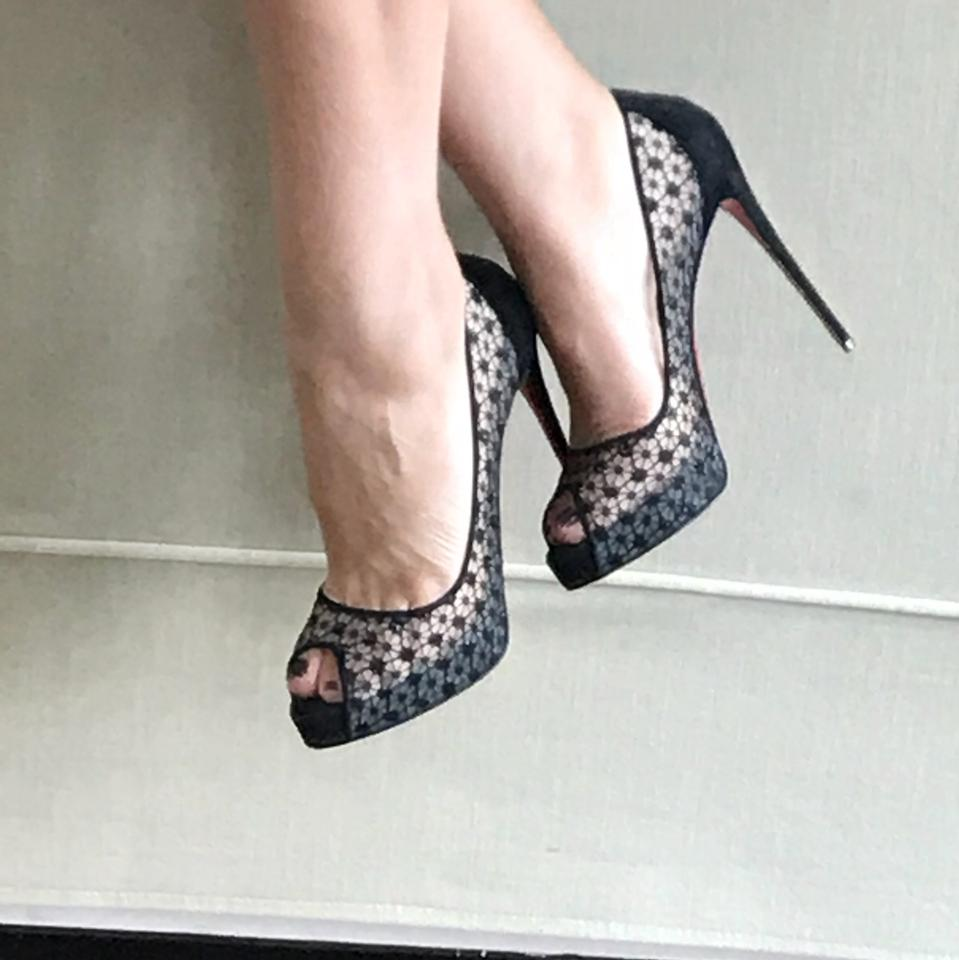 ed0053233609 Christian Louboutin Black Very Lace Dentelle Suede Mesh Peep Toe Pumps Size  EU 39 (Approx. US 9) Regular (M
