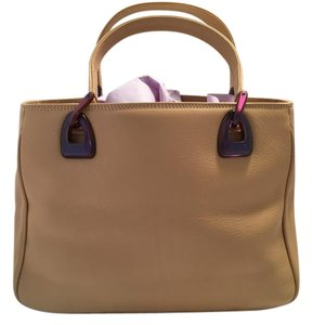 Lancel Leather Classic Tote in Tan