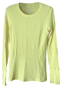 Aerie Long Sleeves Banded Logo Rounded Neckline Waffle Weave T Shirt Yellow