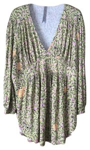 Seven7 New With Tags 3/4 Sleeve Plus-size V-neck Floral Pattern Tunic