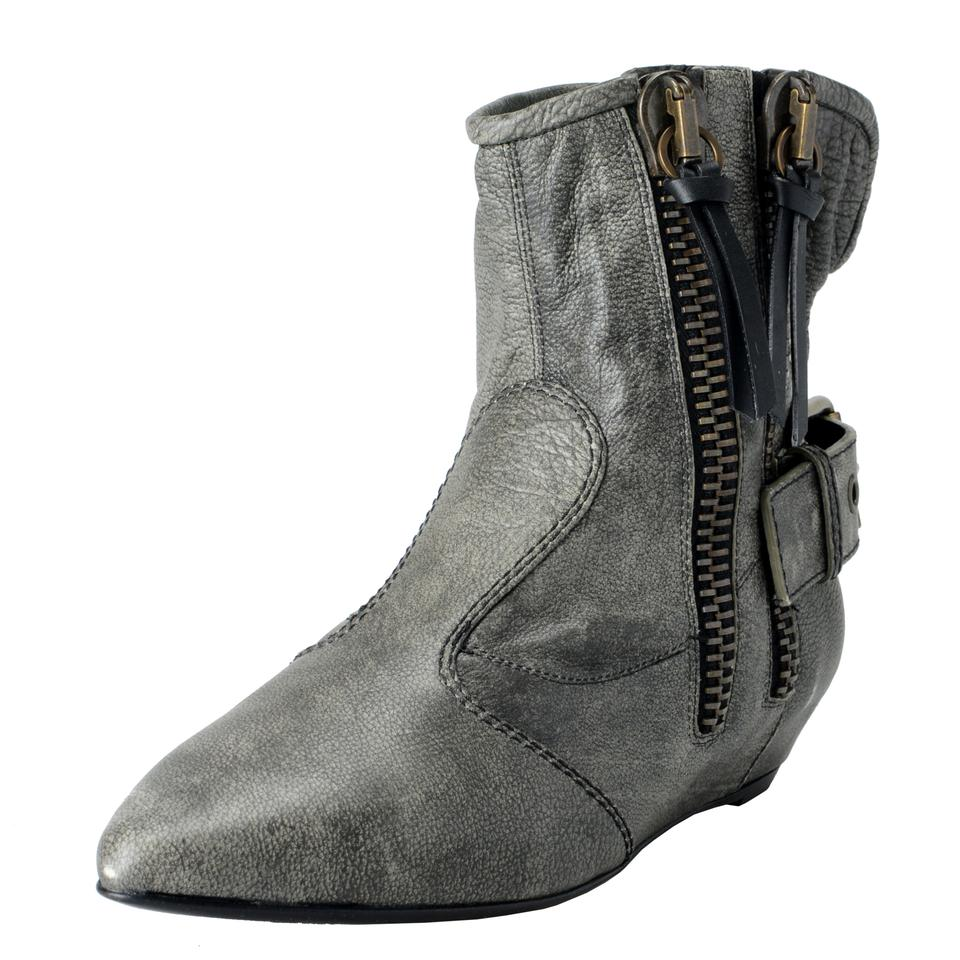 Giuseppe Zanotti Gray Design Ankle Women's Leather Zip Up Ankle Design Boots/Booties 9844bf