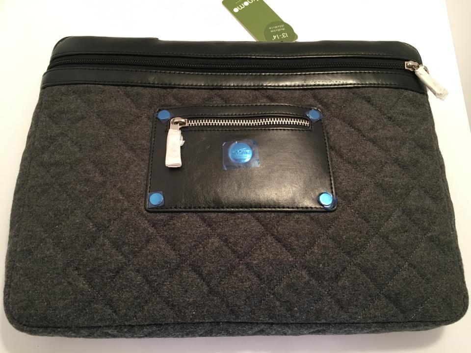 ec1b4f0f1c9 KNOMO London Designer Quilted Notebook Carrier Black and Gray Leather  Laptop Bag