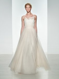 CHRISTOS Blush with Ivory Accents Tulle and Alencon Lace Mia T327 Formal Wedding Dress Size 10 (M)