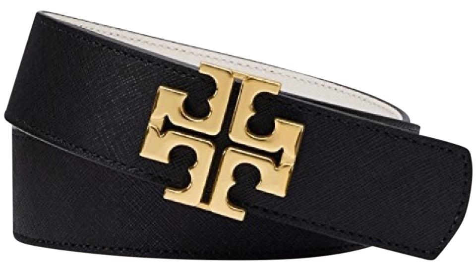 ad2b9b2985f5 Tory Burch Black   Tiger s Eye Reversible Logo Belt - Tradesy