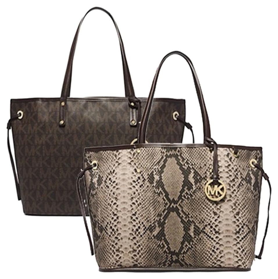 5250e5969214 Michael Kors Price Reduced Jet Set Large Reversible Signature Python Mk  Signature Python Brown Coated Pvc Tote