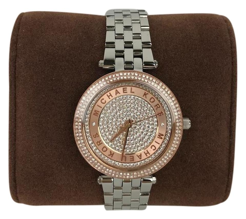 6cc0138d5417 MICHAEL Michael Kors Mini Darci Crystal Pave Dial Two Tone Ladies Watch  33mm Image 0 ...