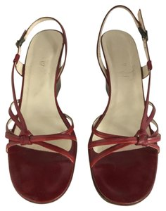J.Crew Sandals Leather Red & Burgundy Wedges
