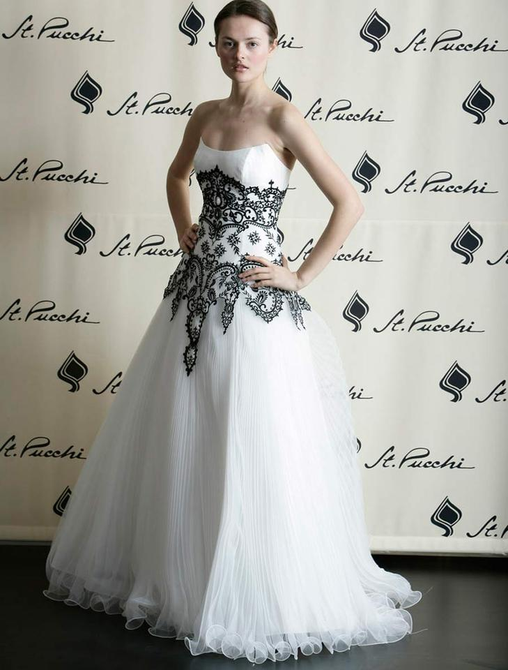 St. Pucchi Diamond White with Black Accents Embroidered Tulle and ...