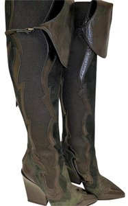 Sergio Rossi Western Wedge Black Green Boots