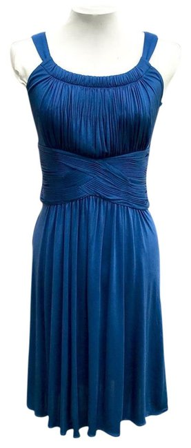 Item - Blue Jersey Blueberry Sleeveless Evening Gown Mid-length Night Out Dress Size 4 (S)