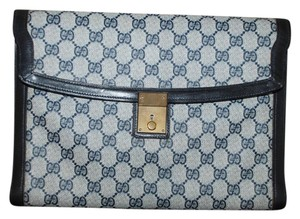 0dff31a31 Gucci Vintage Navy Monogram Document Folder Lock Portfolio Blue Canvas  Clutch