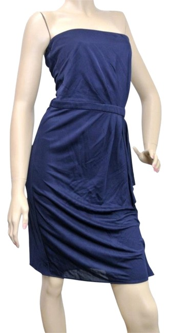 Item - Navy L New with Drape 297343 Mid-length Cocktail Dress Size 12 (L)