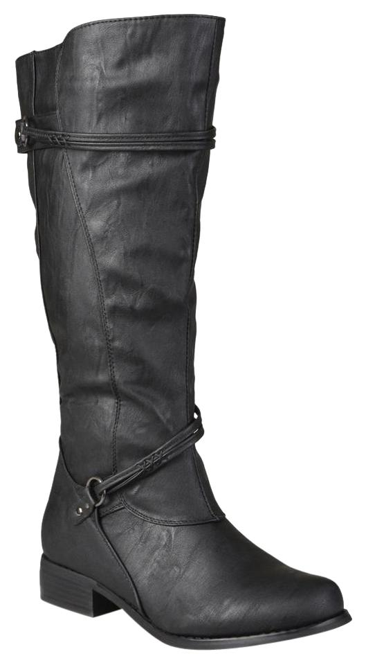 ed06b313ce8e Journee Collection Black Womens and Extra Wide-calf Ankle Strap Knee-high  Boots Booties