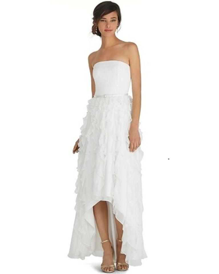 White House Black Market Silk Crepe Whbm Waterfall High Low Gown Formal Wedding Dress