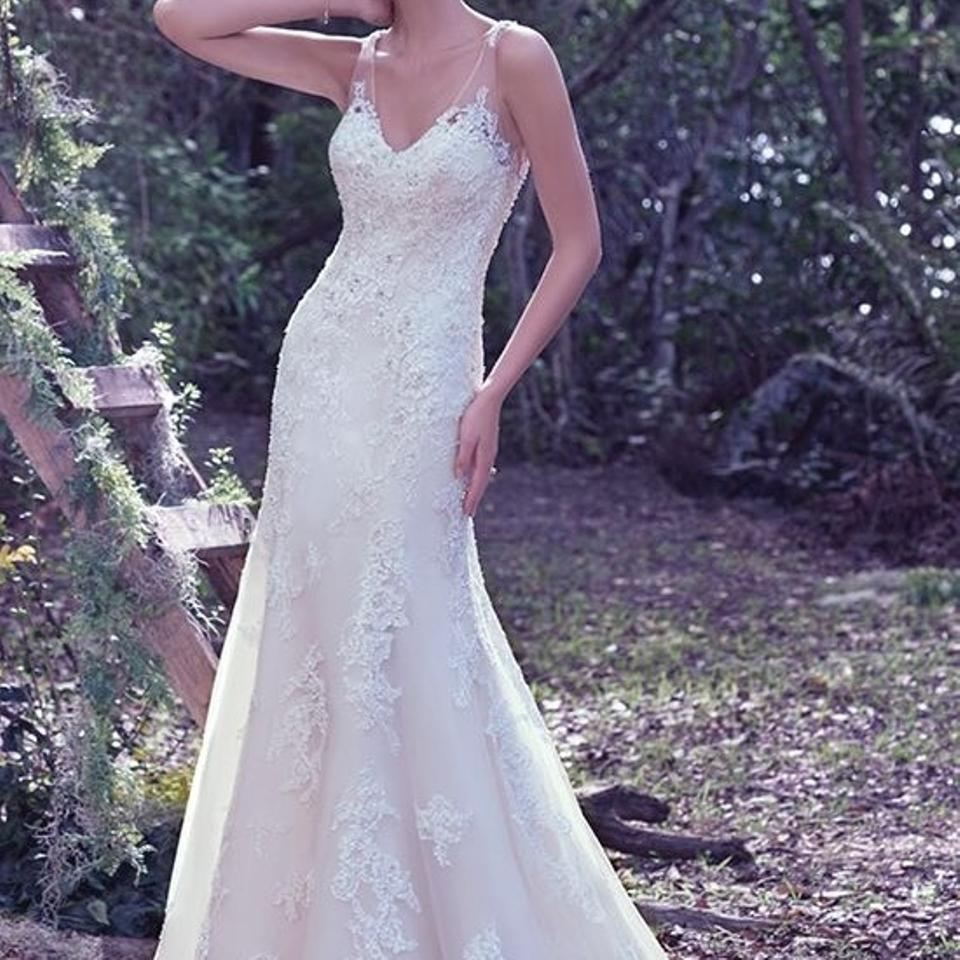 Maggie Sottero Ivory Over Champagne Lace Wynter Formal Wedding Dress ...