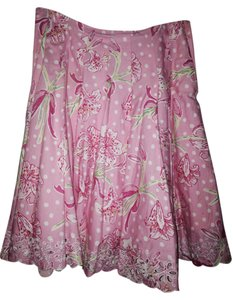 Lilly Pulitzer Designer Summer Floral Pink Casual Fun A Line White Pattern Pattern Pink Bright Pink A Line Skirt Pink white