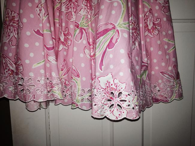 Lilly Pulitzer Designer Summer Floral Casual Fun A Line Pattern Pattern Bright A Line Floral Skirt Pink white