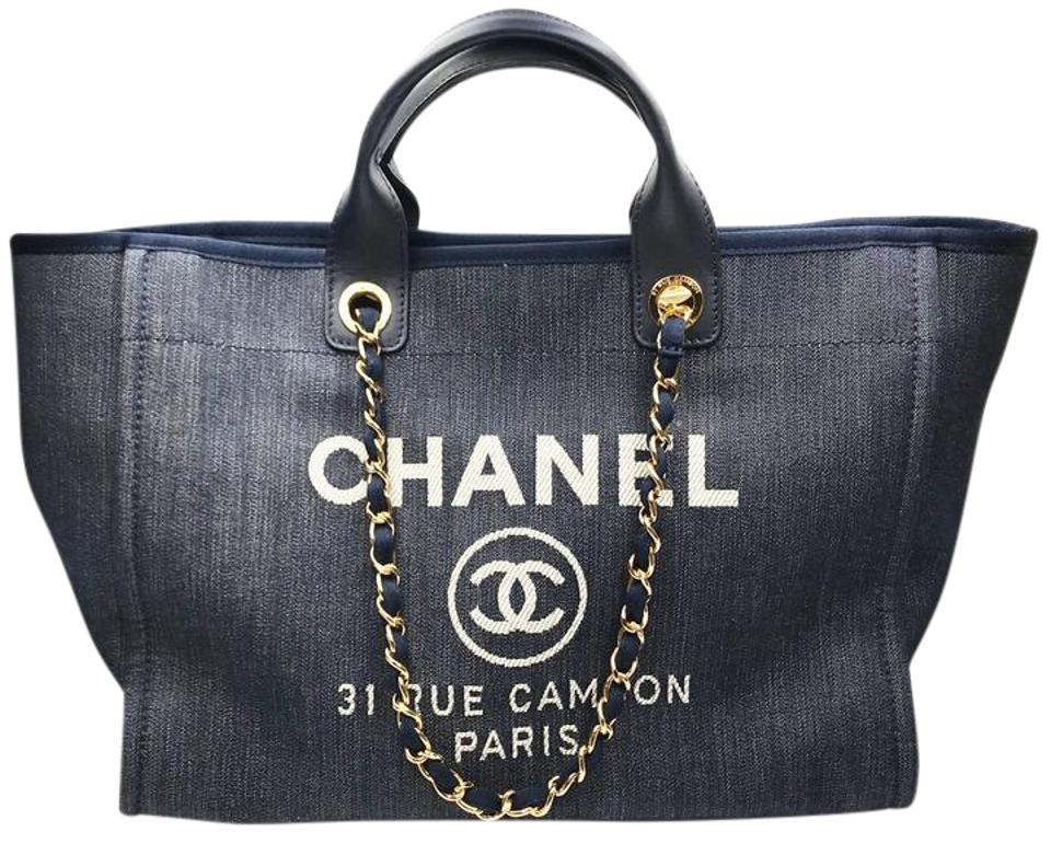 d6937df11705f0 Chanel Deauville Bag Denim Large Blue Canvas Tote - Tradesy