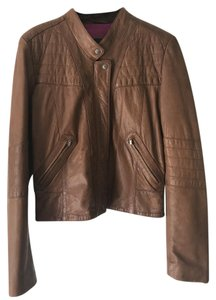 Cole Haan Leather Motorcycle Moto Brown Jacket