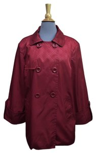Anne Klein Trench Taffeta Geometric Lined Coat