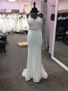 Pronovias Off White/Crystal Pink Lace Jesolo Feminine Wedding Dress Size 8 (M)