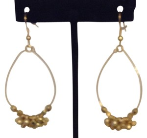Unknown Gold Dangle Hoop Pierced Earrings