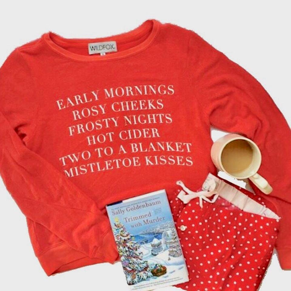 aea46e4f7 Wildfox New List Baggy Beach Jumper Christmas Holiday Red Sweater ...