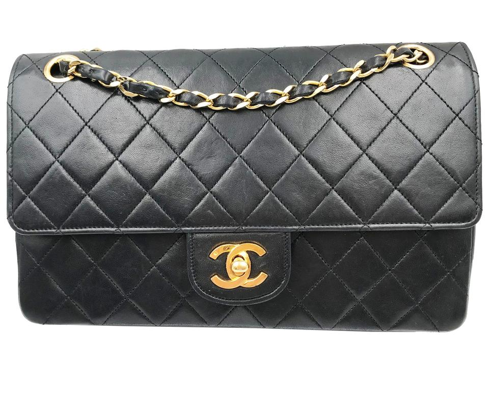 8e17a9516972 Chanel Classic Flap Vintage 24k Gold Plated Timeless Black Lambskin ...