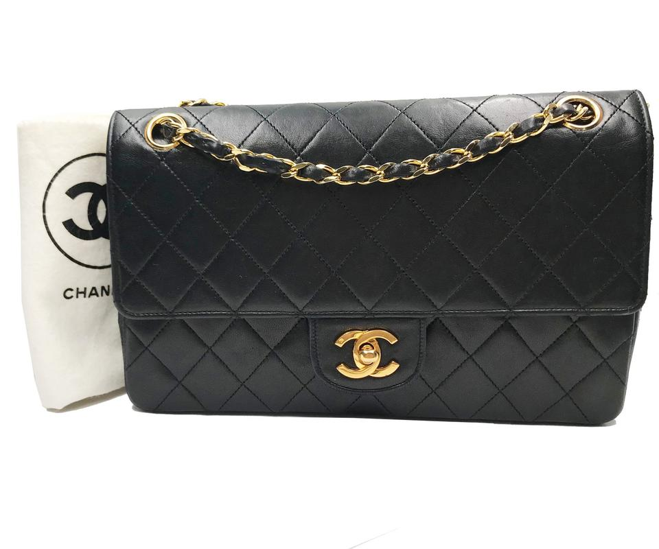b38cb54276fa Chanel Classic Flap Vintage 24k Gold Plated Timeless Black Lambskin ...
