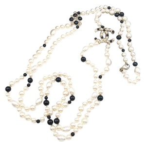 Chanel Gold CC Black Stone Faux Pearl 2 Strand Long Pearl Necklace