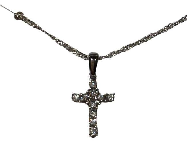 Item - Silver Millennia Ii Sterling Cross with Crystals Necklace