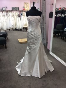 Pronovias Oyster Satin Tigress Modern Wedding Dress Size 10 (M)