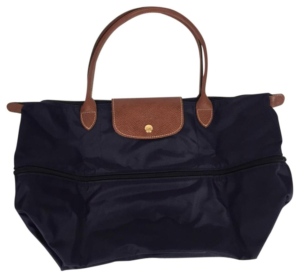612b637f00c8 Longchamp Le Pliage Expandable Travel Bilberry Fabric Leather Tote ...