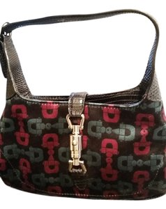 Gucci Mini Satchel in Black with teal and burgundy