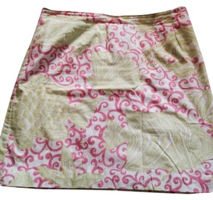 Lilly Pulitzer Designer Casual Fun Summer White Cotton Casual Above Knee Light Bright Floral Skirt Pink green
